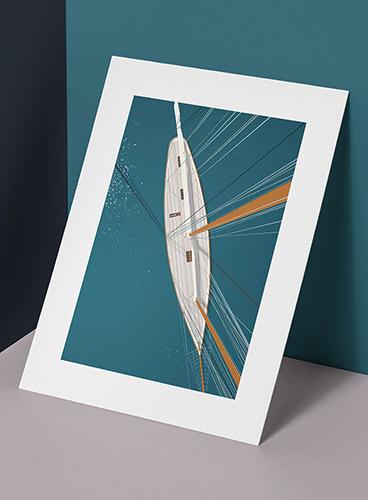 Affiche le voilier 50x70 cm